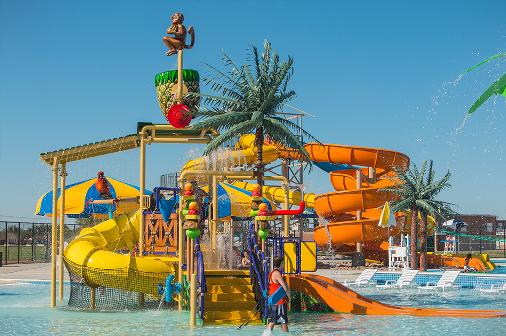 Tropical Expressions palm tress are popular with waterparks