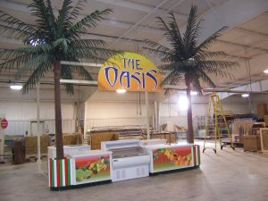 <p>Our 19' King Palms are turning the Fruit Juice Stand into a true Tropical Oasis</p>